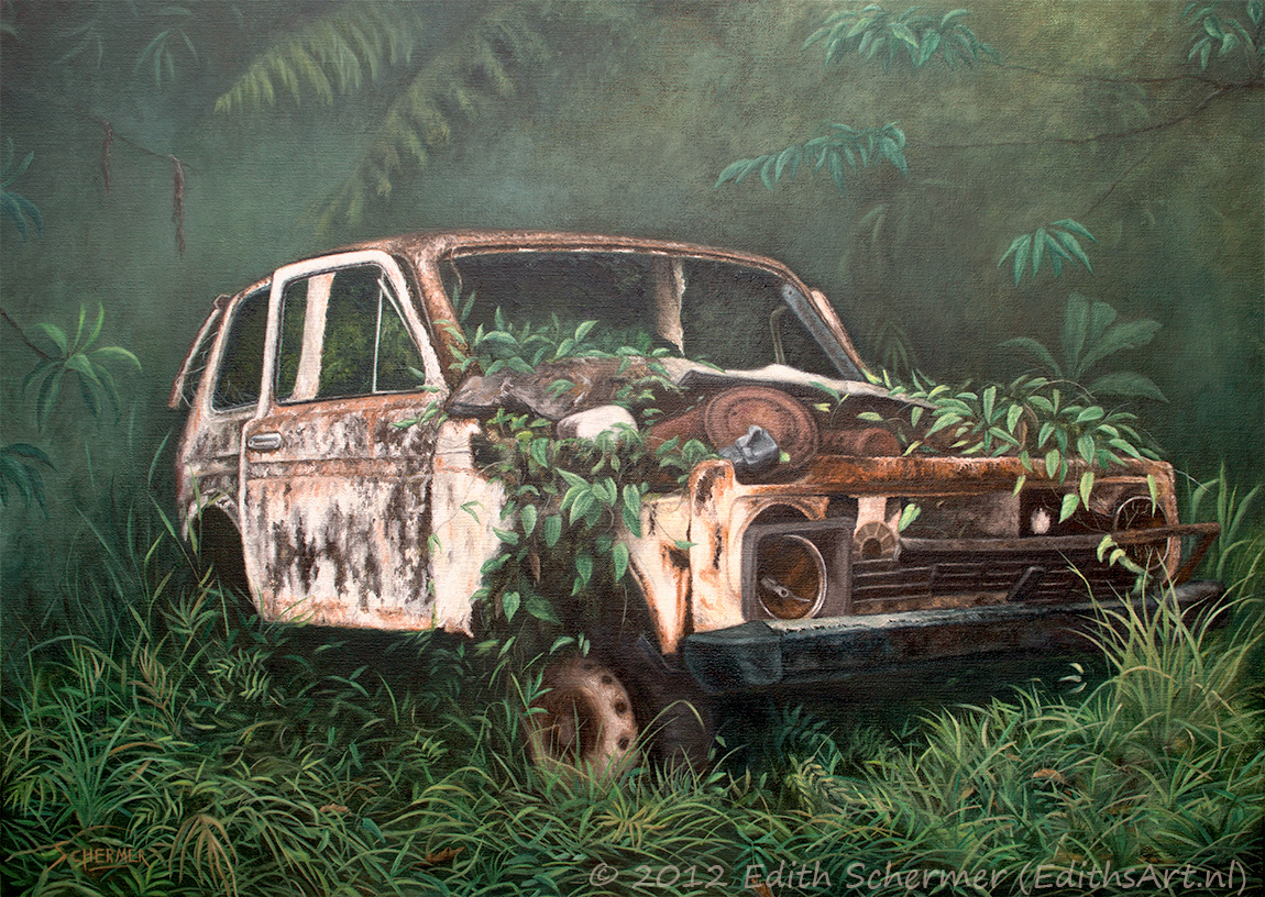 Painting of an abandoned old car (titled Forgotten)