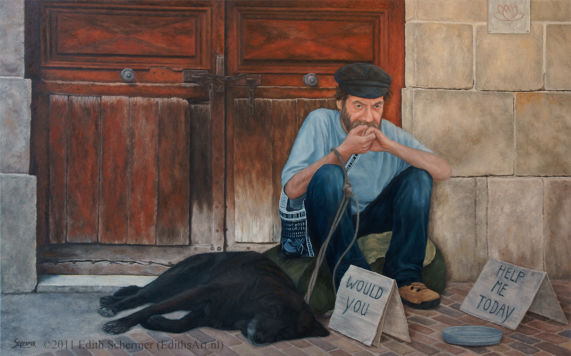 Oil painting of a Homeless Man