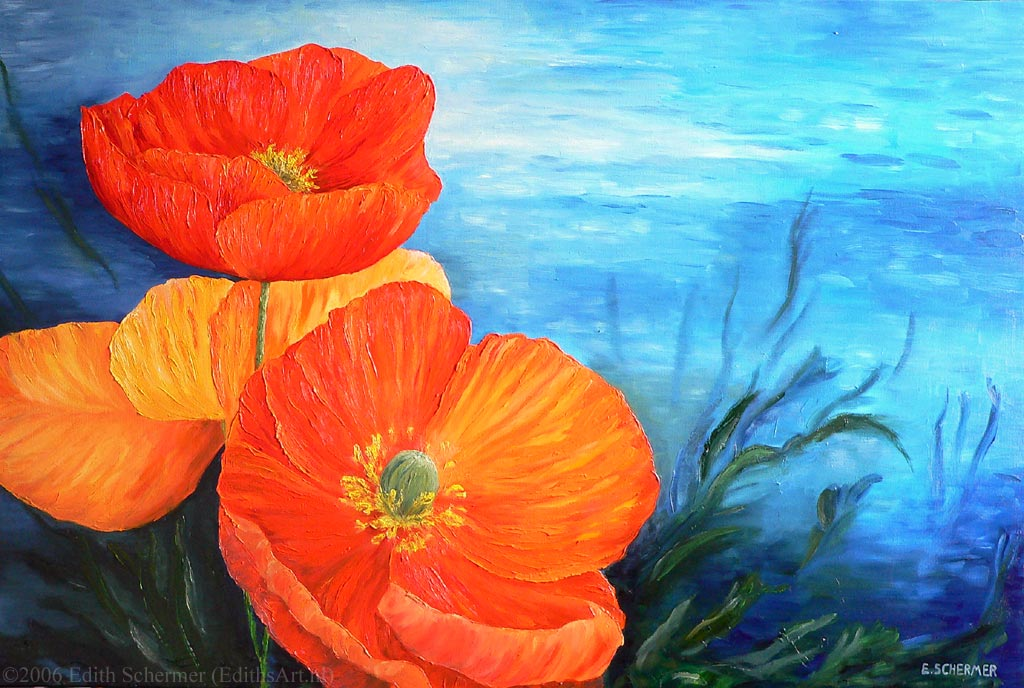 Painting titled: Sea Flowers, orange poppy flowers against an underwater scene inspired by the beautiful water around Cozumel